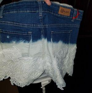 L&B jean/lace shorts